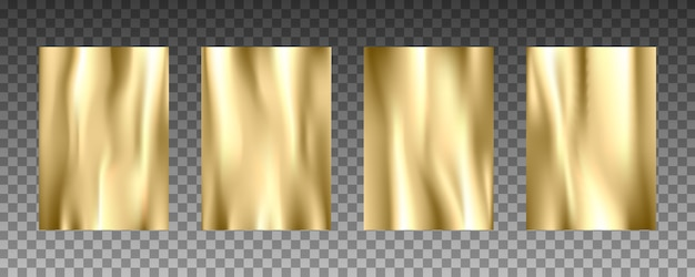 Conjunto de texturas realistas 3d de folha de ouro