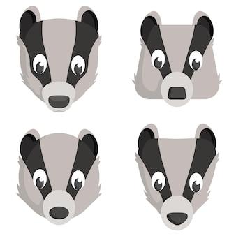 Conjunto de texugos de desenho animado. diferentes formas de cabeças de animais.
