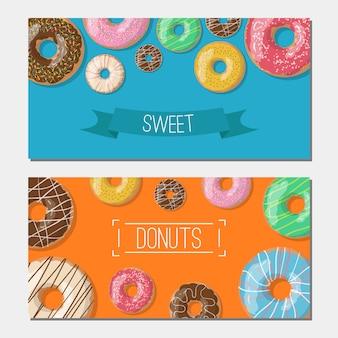 Conjunto de tho banners de vetor brilhante com ilustração de donuts