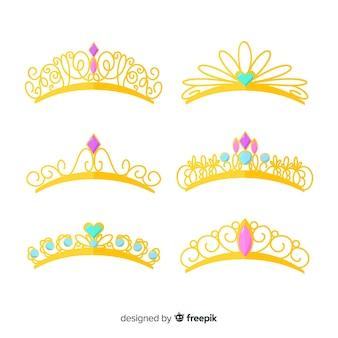 Conjunto de tiara princesa dourada plana