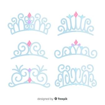 Conjunto de tiara princesa prata plana