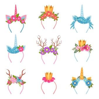 Conjunto de tiaras decorativas com tema floral