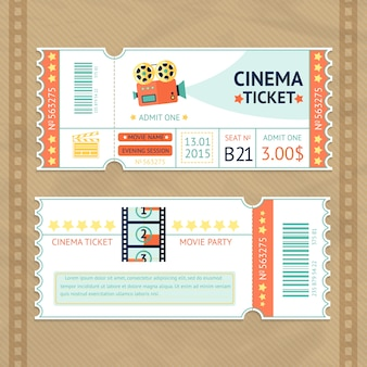Conjunto de tickets de cinema