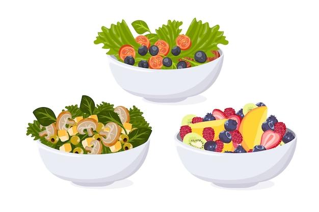 Conjunto de tigela de frutas e saladas