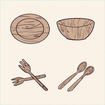 Conjunto de tigela de madeira e ilustração de desenho à mão de colher
