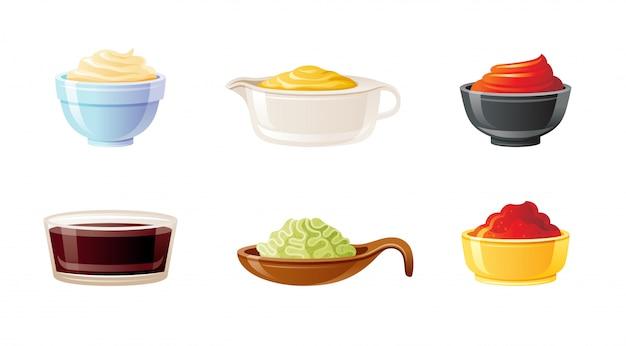 Conjunto de tigela de molho. soja, wasabi, mostarda, ketchup, malagueta, maionese, molhos.
