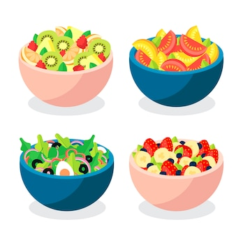 Conjunto de tigelas de frutas e saladas