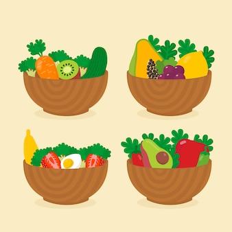 Conjunto de tigelas de saladas e frutas saudáveis