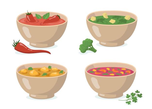 Conjunto de tigelas de sopas. gaspacho de tomate com pimenta vermelha, purê de brócolis verde, curry com cogumelos, borscht tradicional. para cozinhar vegetais, sopa de creme, comer, comida saudável