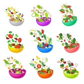 Conjunto de tigelas multicoloridas com vegetais picados