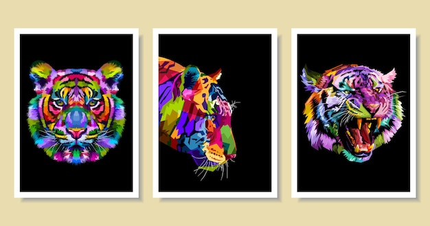 Conjunto de tigre colorido no estilo pop art.