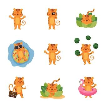 Conjunto de tigres bonitos dos desenhos animados em diferentes poses nas férias