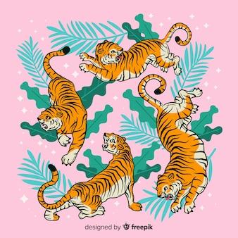 Conjunto de tigres em estilo cartoon em diferentes posições