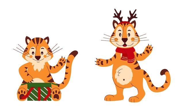 Conjunto de tigres fofos para cartões de parabéns pôsteres símbolo da ilustração dos desenhos animados do chinês 2022