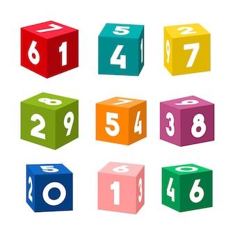 Conjunto de tijolos de brinquedo coloridos com números. cubos simples isolados