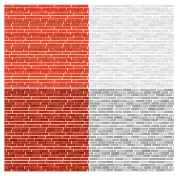 Conjunto de tijolos de cores diferentes. textura de tijolos, padrão sem emenda retro vintage da parede de tijolos.