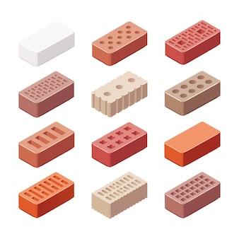 Conjunto de tijolos de diferentes tipos e cores