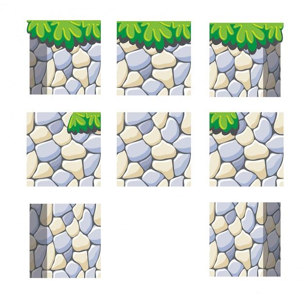 Conjunto de tileset jogo para o fundo do jogo isolado no branco