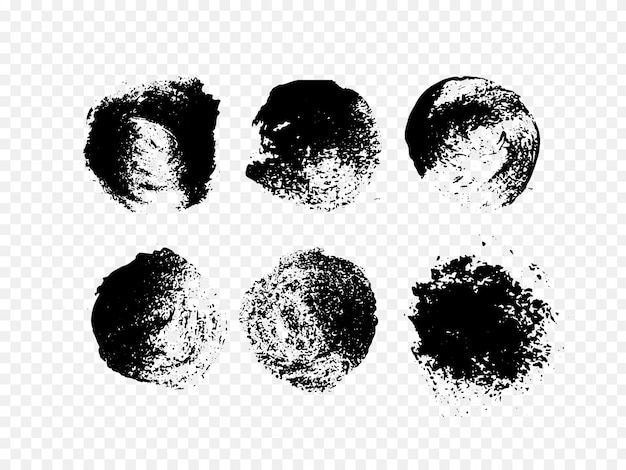 Conjunto de tinta abstrata. círculo de mão desenhada grunge preto.