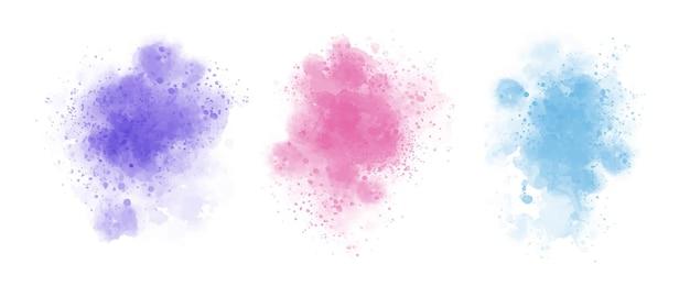 Conjunto de tinta aquarela abstrata