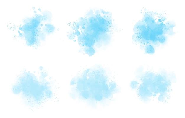 Conjunto de tinta aquarela azul abstrata