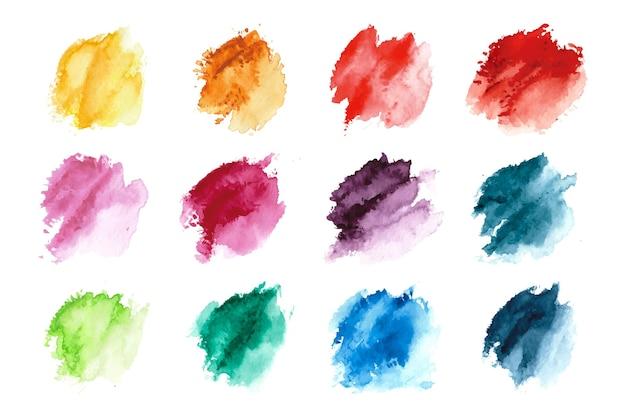 Conjunto de tinta aquarela pintada à mão