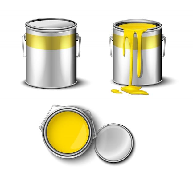 Conjunto de tinta pode amarelo cor vista superior e lateral.