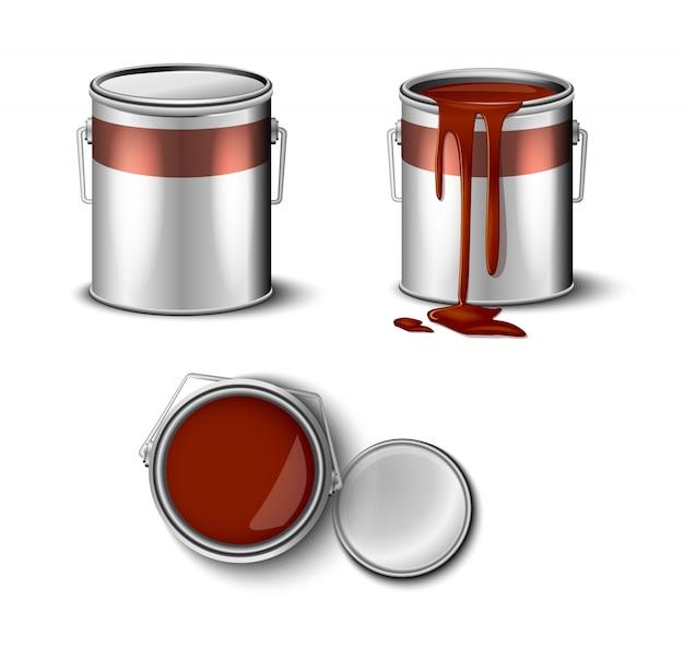 Conjunto de tinta pode marrom cor vista superior e lateral.