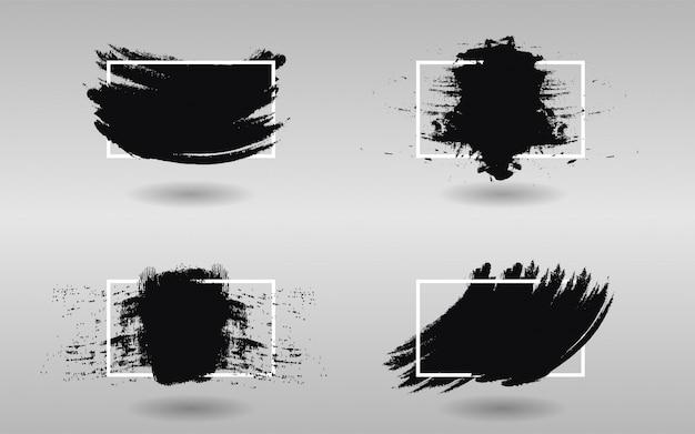 Conjunto de tinta preta com moldura quadrada