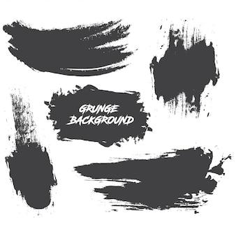 Conjunto de tinta preta, pinceladas de tinta, pincéis, linhas