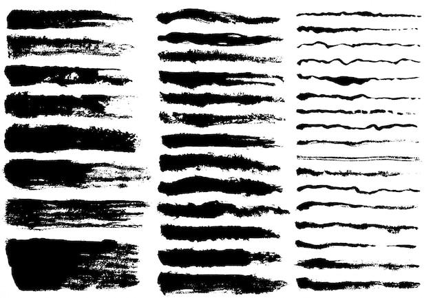 Conjunto de tinta preta, pinceladas de tinta