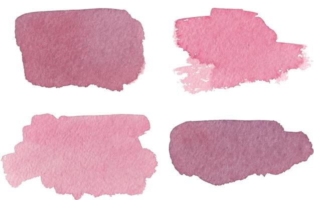 Conjunto de tinta rosa aquarela desenhada à mão