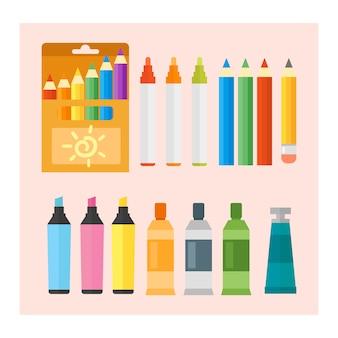 Conjunto de tintas e lápis de engenharia colorido