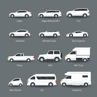 Conjunto de tipo de carro e objetos de modelo