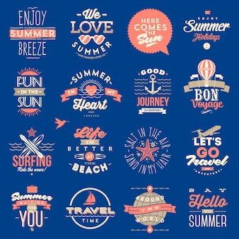 Conjunto de tipo de viagens e férias de verão - ilustração