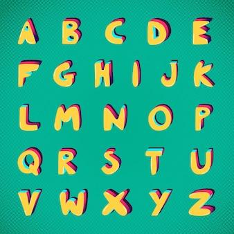 Conjunto de tipografia az bold funky font alfabeto