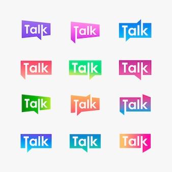Conjunto de tipografia conversa com logotipo de bolha do discurso.