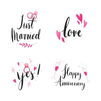 Conjunto de tipografia de casamento e amor