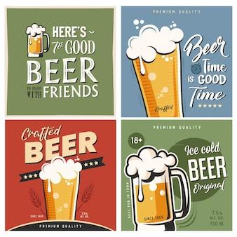 Conjunto de tipografia de cerveja retrô