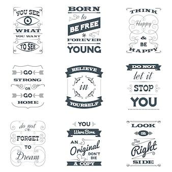 Conjunto de tipografia de citações