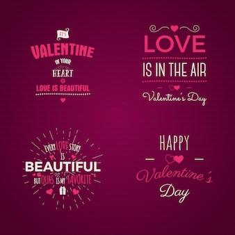 Conjunto de tipografia de dia dos namorados