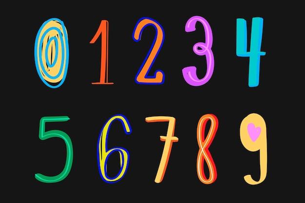 Conjunto de tipografia de doodle colorido de vetor de números