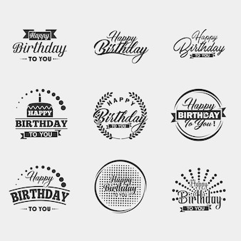 Conjunto de tipografia de feliz aniversário