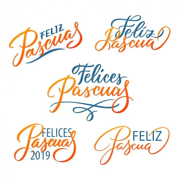 Conjunto de tipografia de feliz pascua. páscoa em espanhol. caligrafia moderna imprime letras de vetor, elementos de design.