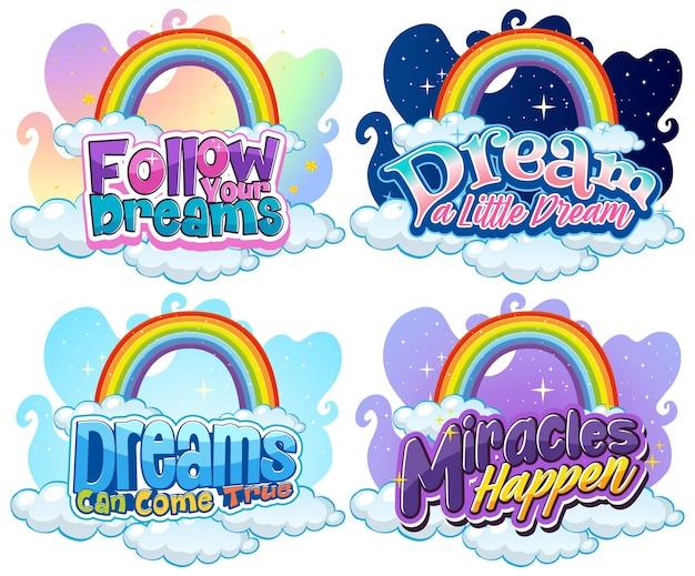 Conjunto de tipografia de fonte unicórnio diferente com arco-íris isolado