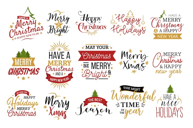 Conjunto de tipografia de natal