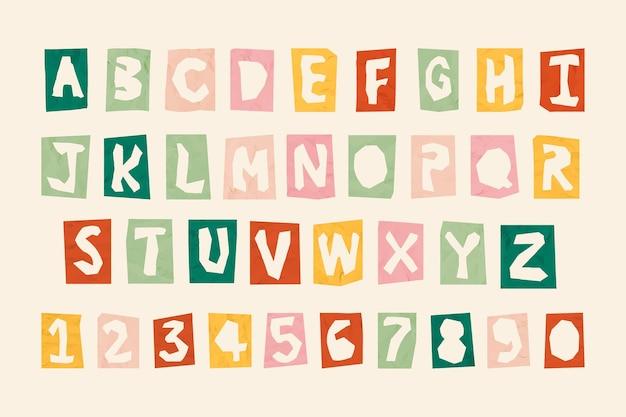 Conjunto de tipografia de números e alfabetos