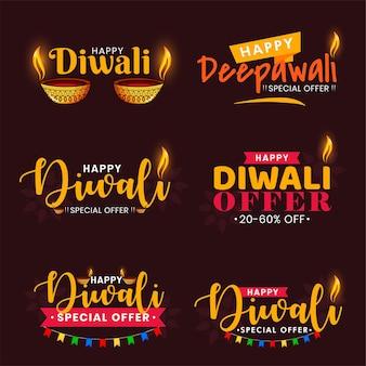 Conjunto de tipografia de texto de celebração de festival feliz diwali.