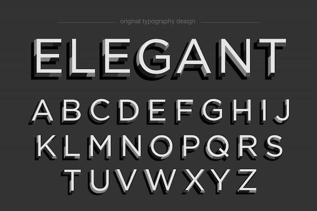 Conjunto de tipografia elegante branco preto