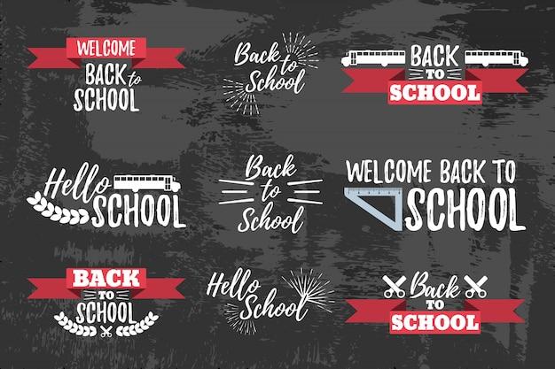 Conjunto de tipografia escolar - estilo vintage de volta à escola. ilustração vetorial